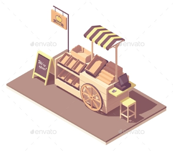 Vector Isometric Fruits and Vegetables Kiosk Cart - Man-made Objects Objects