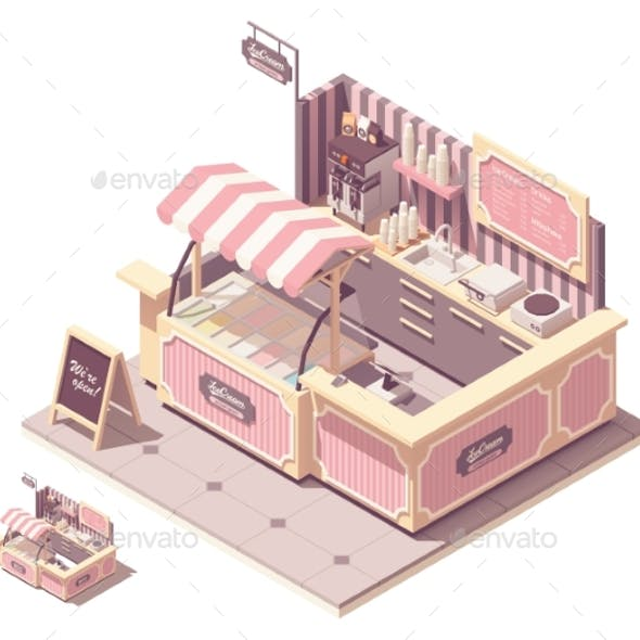 Vector Isometric Ice Cream Kiosk