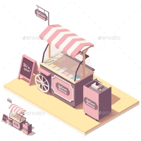 Vector Isometric Ice Cream Cart Kiosk