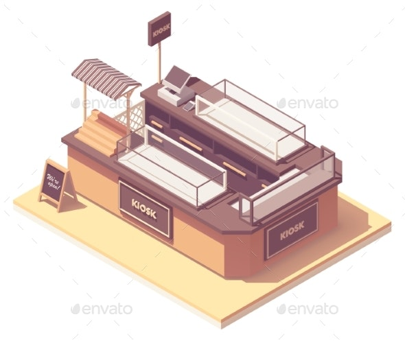 Vector Isometric Mall Retail Kiosk - Man-made Objects Objects