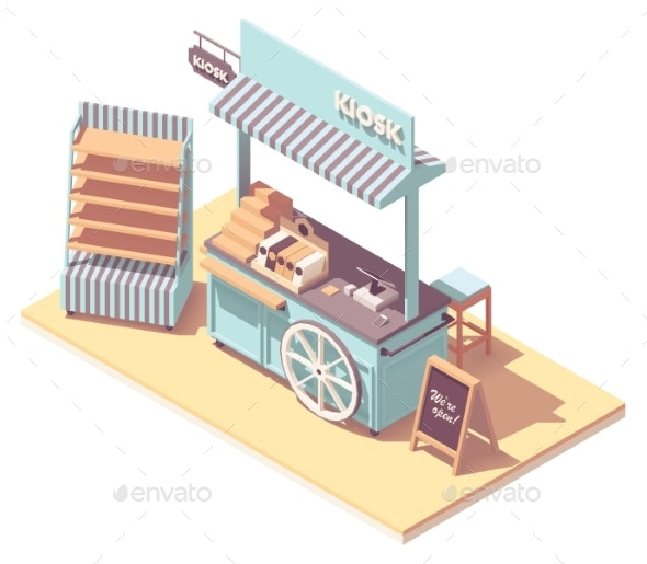 Vector Isometric Retail Kiosk or Cart Stand - Man-made Objects Objects