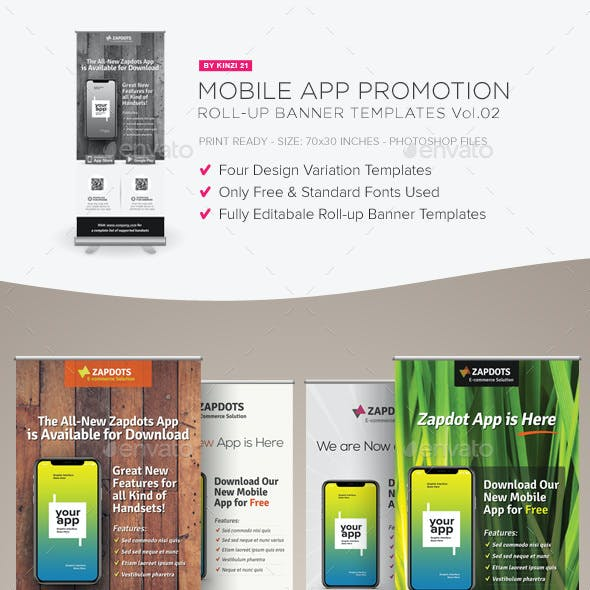 Mobile App Promotion Roll-up Banners Vol.02