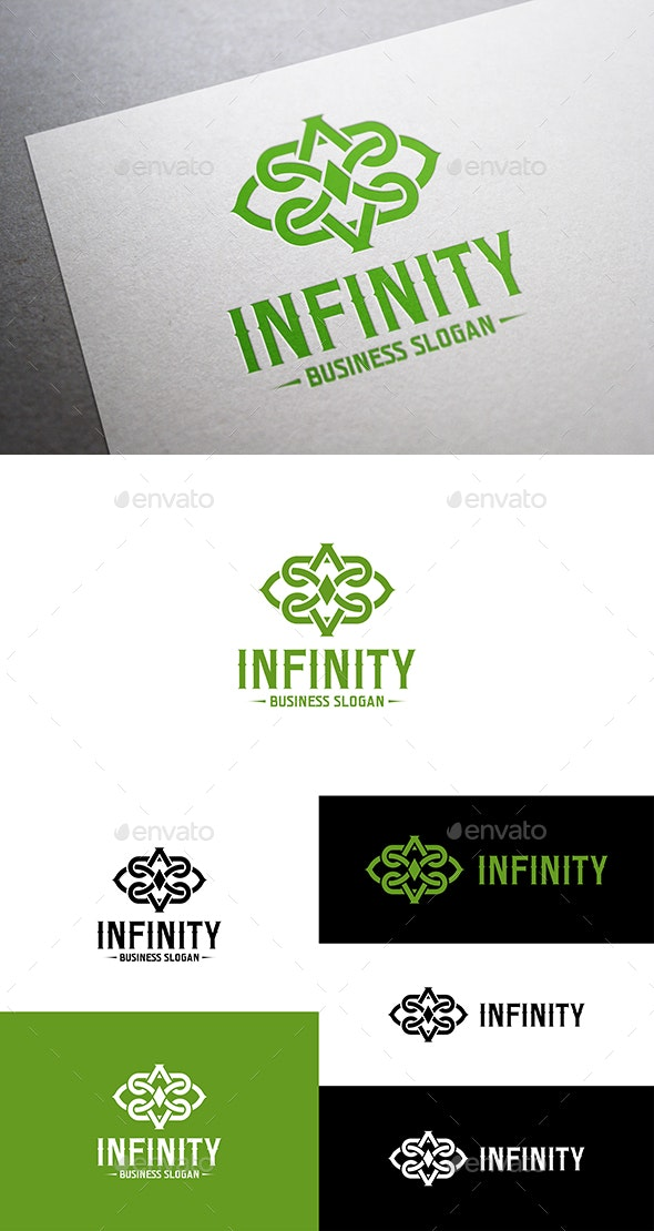 Infinity Abstract Interlacing Line Logo Symbol - Symbols Logo Templates