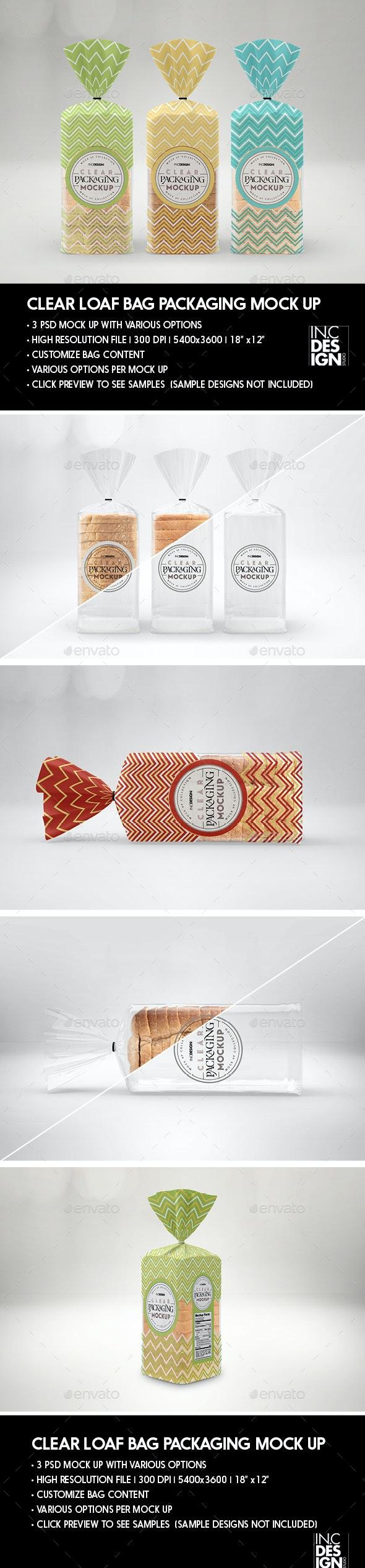 Clear Loaf Bag Packaging Mockup - Packaging Product Mock-Ups