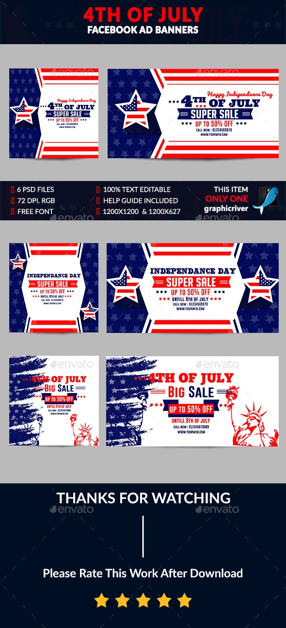 4th of July Facebook Ad Banner-6 Design-Image Included - Banners & Ads Web Elements