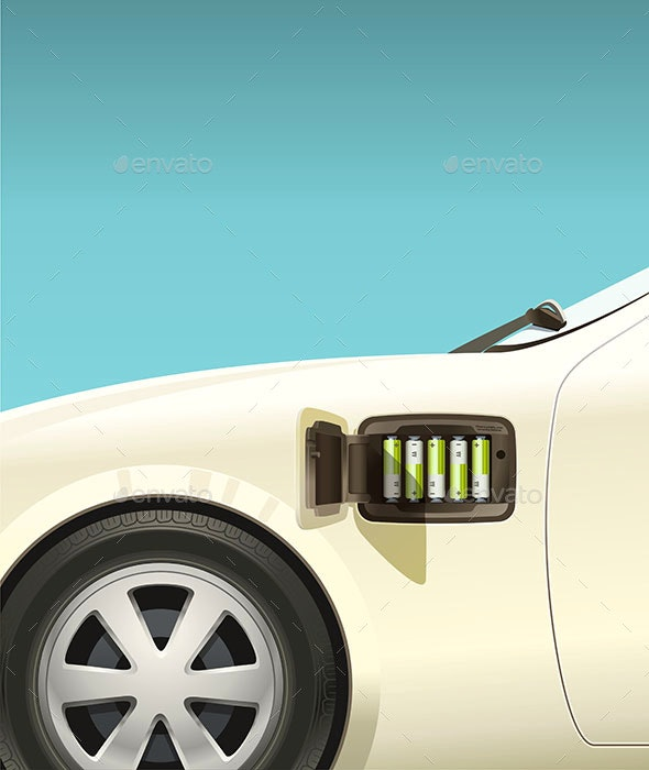 Electric Car on Small AA Batteries - Technology Conceptual