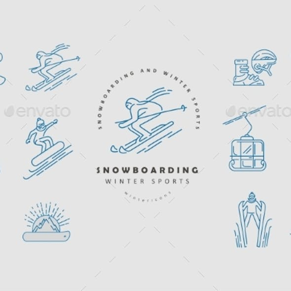 Vector Icon and Logo for Snowboarding and Skiing