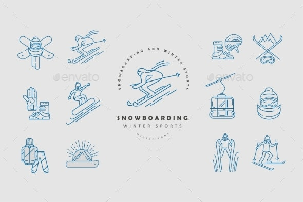 Vector Icon and Logo for Snowboarding and Skiing - Miscellaneous Vectors