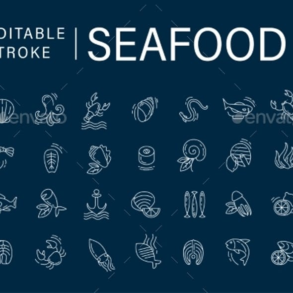 Vector Icon and Logo for Seafood Restaurant