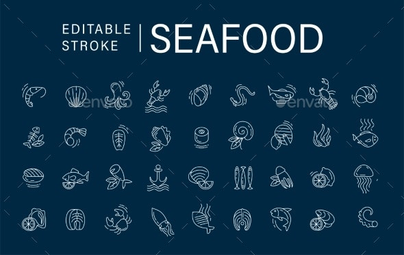 Vector Icon and Logo for Seafood Restaurant - Animals Characters