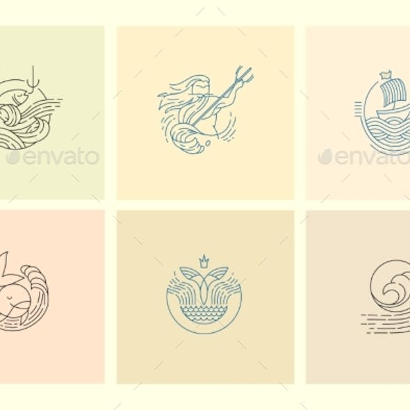 Vector Icon and Logo for Sea or Fish