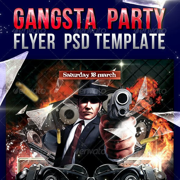 Gangsta Party Flyer PSD Template