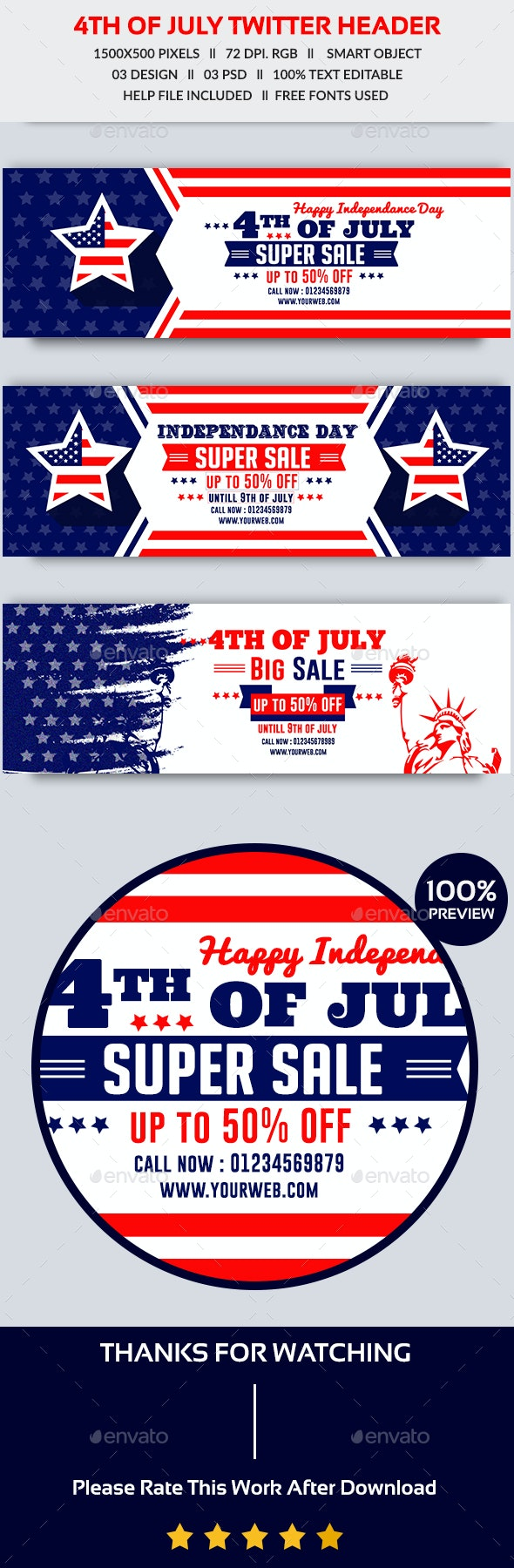 4th of July Twitter Header - Twitter Social Media