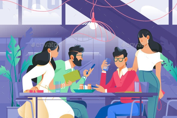 Flat Company with Woman and Man in Cafe Drinking - Food Objects