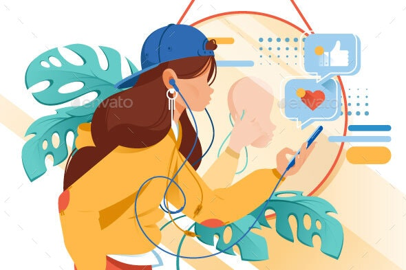 Flat Young Woman with Mobile Phone and Earphones - Computers Technology