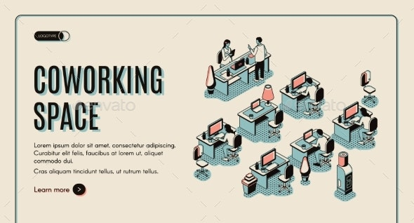 Coworking Space Isometric Landing Page - Concepts Business