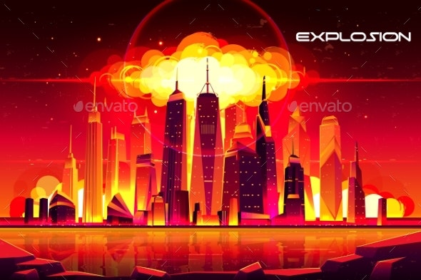 Nuclear Explosion City Metropolis Mushroom Cloud - Buildings Objects