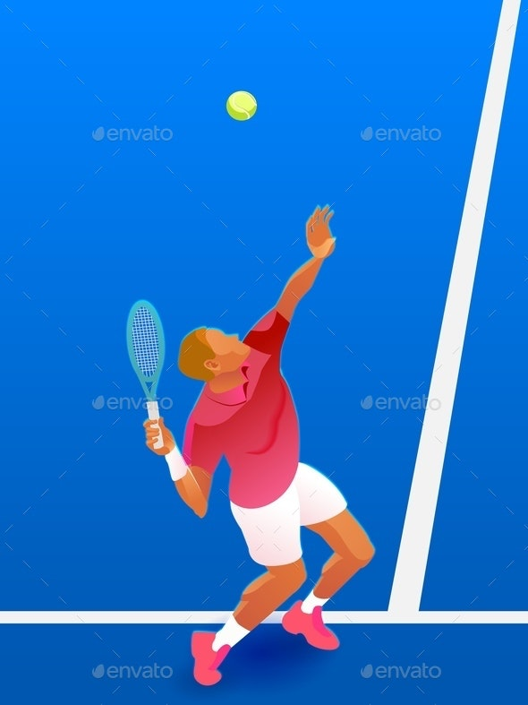 Vector Male Tennis Player - Sports/Activity Conceptual