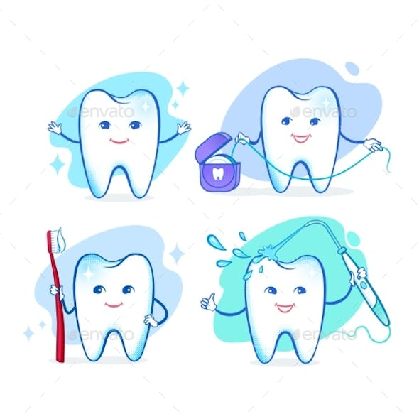 Vector Set of Cartoon Tooth Characters
