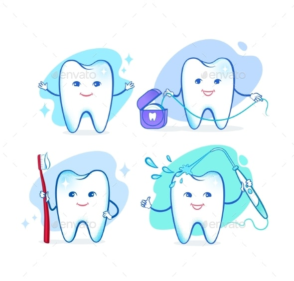 Vector Set of Cartoon Tooth Characters - Health/Medicine Conceptual