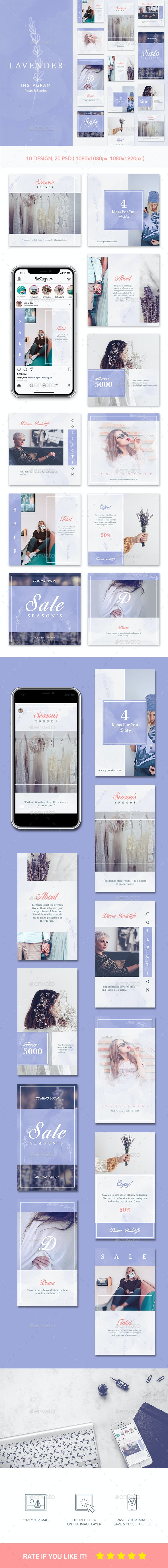 Instagram Posts & Stories - Lavender - Social Media Web Elements