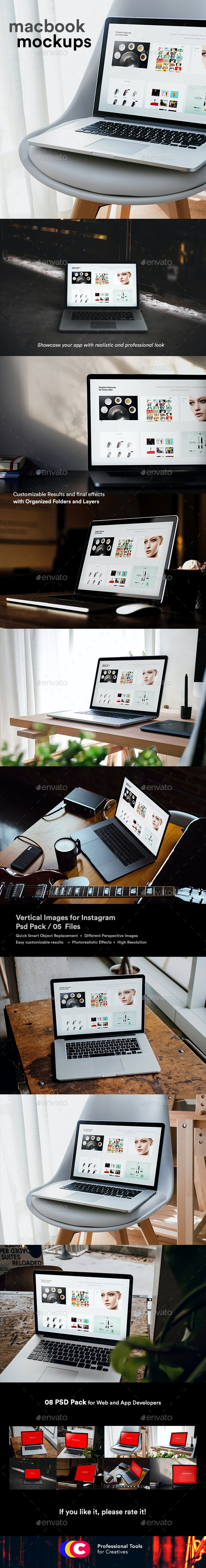 Laptop Pro Mock-Up Psd - Minimal Workstation - Laptop Displays