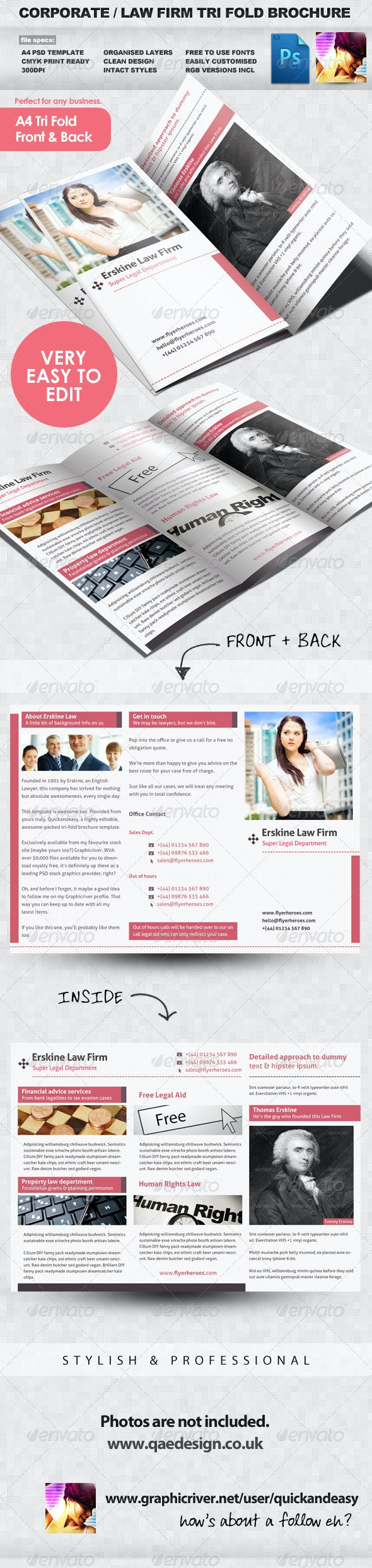 Law Firm Tri Fold Leaflet Brochure Template - Corporate Brochures