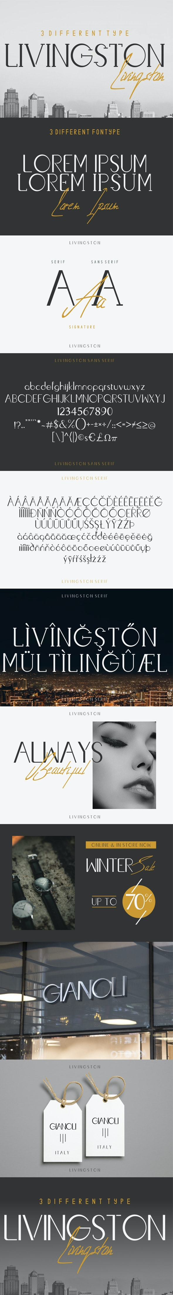Livingston Font Trio - Serif Fonts