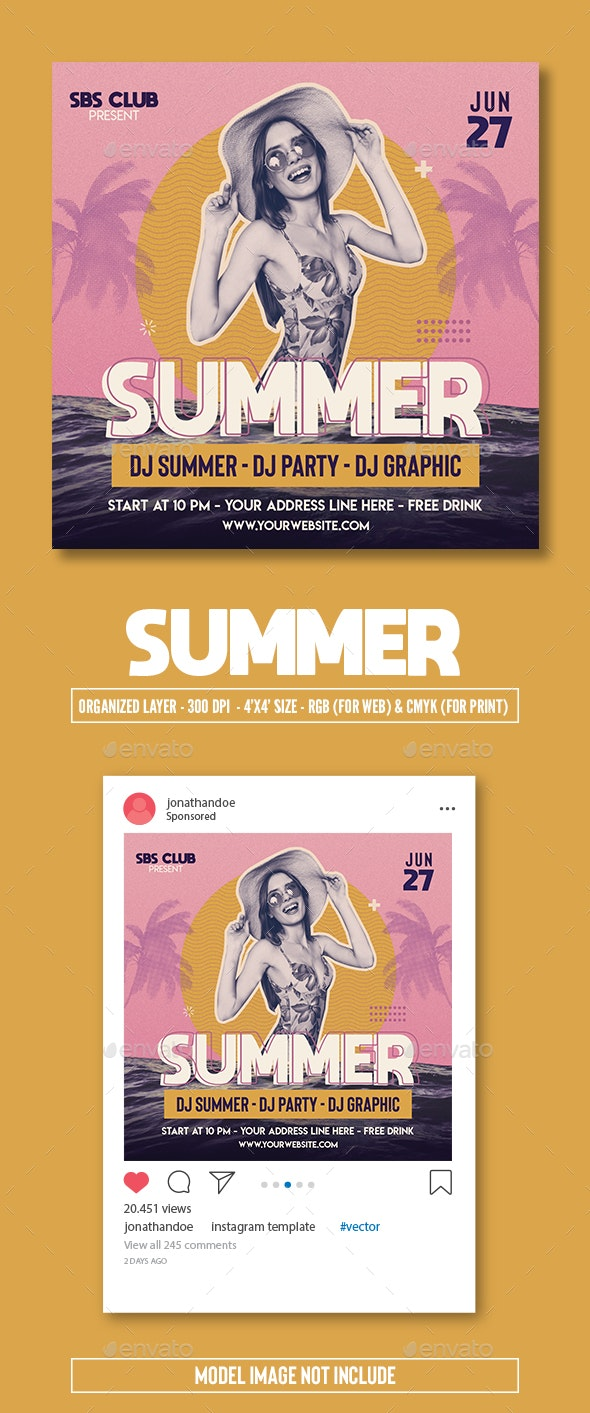 Summer Retro Flyer Template - Clubs & Parties Events