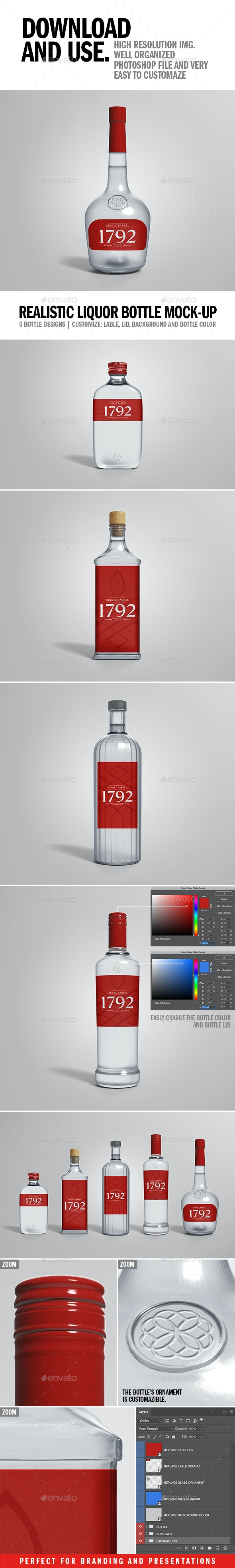 Realistic Liquor Bottle Mock-up - Packaging Product Mock-Ups