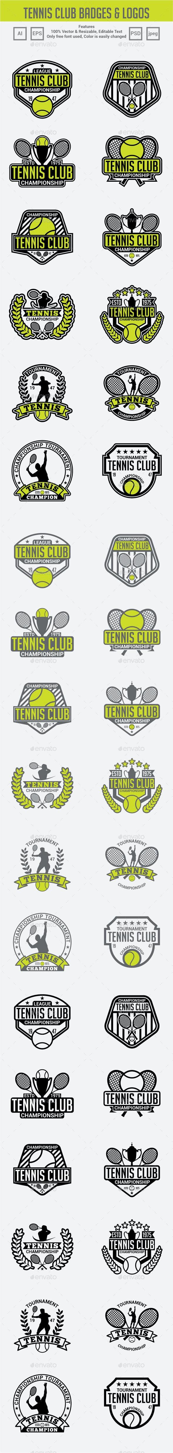 Tennis Club Badges & Logos - Badges & Stickers Web Elements