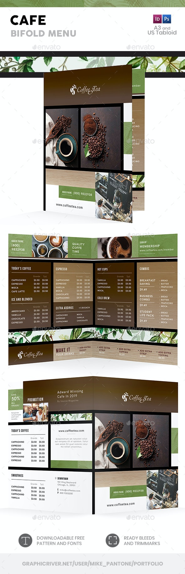 Cafe Bifold / Halffold Menu 3 - Food Menus Print Templates