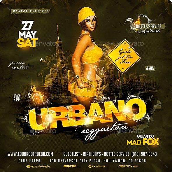 Reggaeton Urbano Party Flyer