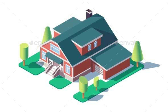 Isometric Large Residential Building with Green - Buildings Objects