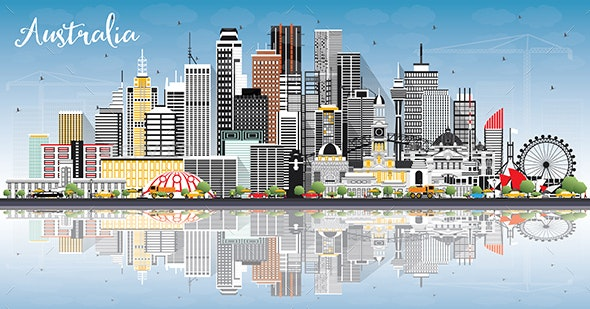 Australia City Skyline with Gray Buildings - Buildings Objects