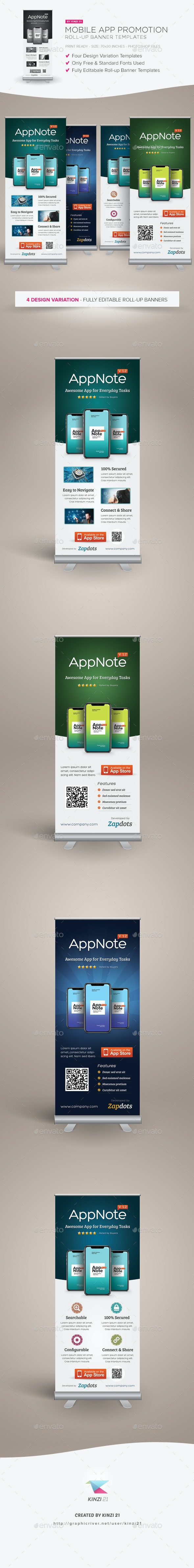 Mobile App Promotion Roll-up Banners - Signage Print Templates