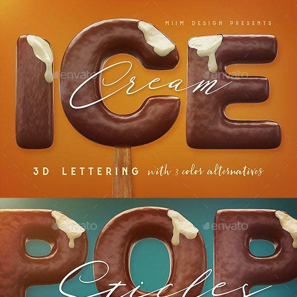 Ice Cream - 3D Lettering
