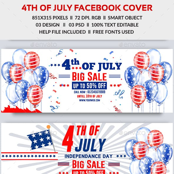 4th of July Sale Facebook Cover