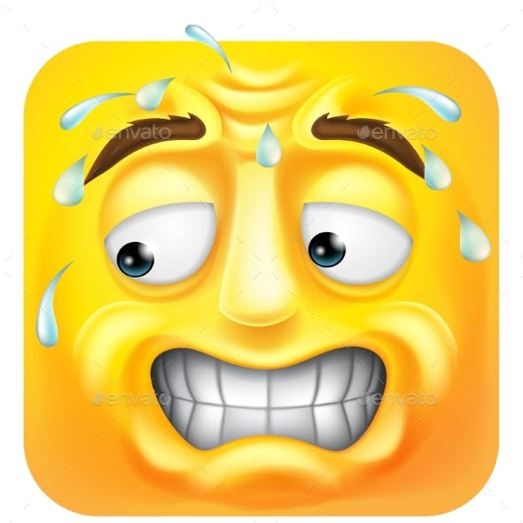 Sweating Worried Emoji Emoticon Icon Cartoon