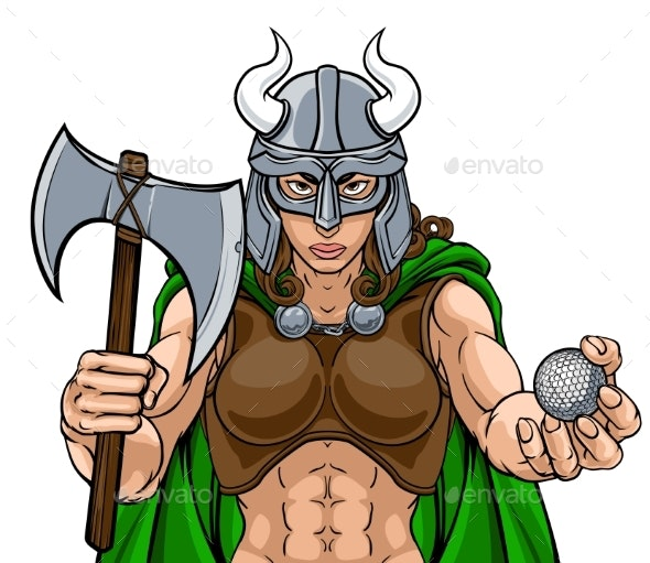 Viking Female Gladiator Golf Warrior Woman - People Characters