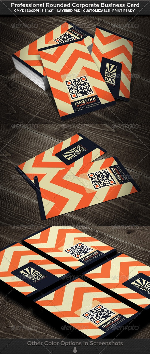 Professional Rounded Corporate Business Card - Business Cards Print Templates