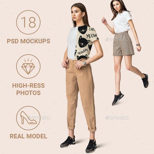 Female Basic T-shirt Mockup Set with Real Model