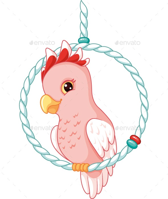 Cartoon Pink Cockatoo - Animals Characters