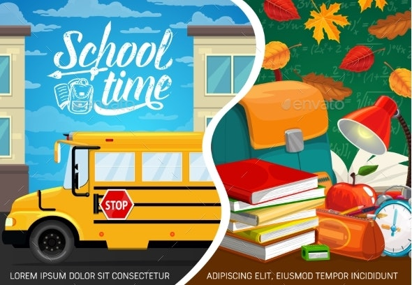 Back to School Bus and Student Study Supplies - Miscellaneous Conceptual