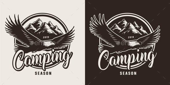 Vintage Monochrome Camping Logo - Animals Characters