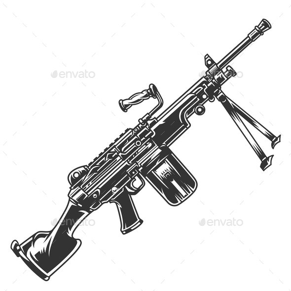 Vintage Modern Automatic Rifle Concept - Man-made Objects Objects