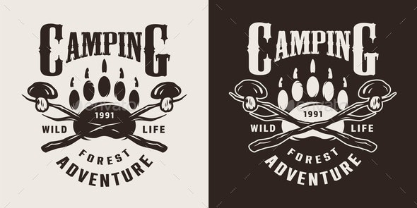 Monochrome Camping Season Emblem - Miscellaneous Vectors