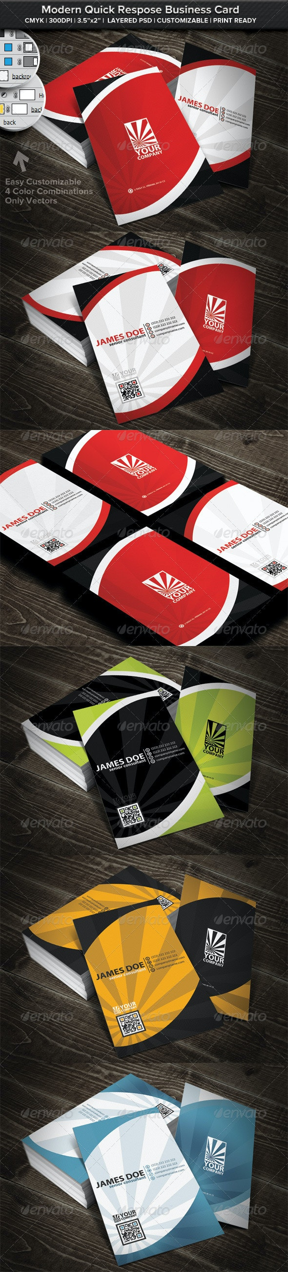 Modern Rounded Quick Respose Business Card - Business Cards Print Templates