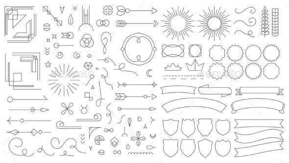 Retro Line Emblem Elements - Decorative Symbols Decorative