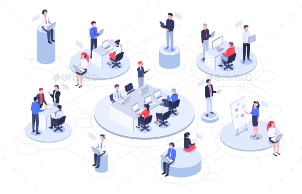 Isometric Virtual Office Business People Working - Backgrounds Business